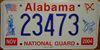 Alabama National Guard Graphic  2004  License Plate