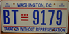 Washington D.C. District of Columbia Flat  Graphic License Plate