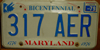 Maryland Bicentennial License Plate