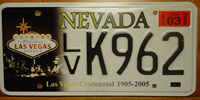 Nevada Las Vegas License Plate