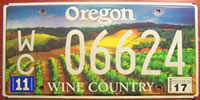 Oregon Wine Country License Plate