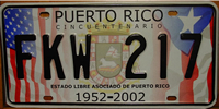 Puerto Rico 50th Anniversary License Plate