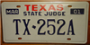 Texas State Judge License Plate