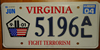 Virginia Fight Terrorism License Plate