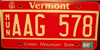 Vermont  Municipal Vehicle  License Plate
